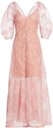 Cult Gaia Tilda Floral-Embroidered Silk Organza Puff-Sleeve A-Line Dress