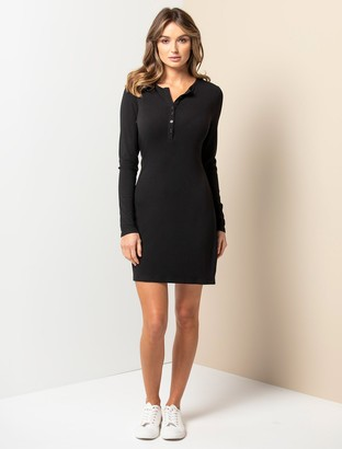 Forever New Celeste Rib Button-Front Mini Dress - Black - 12