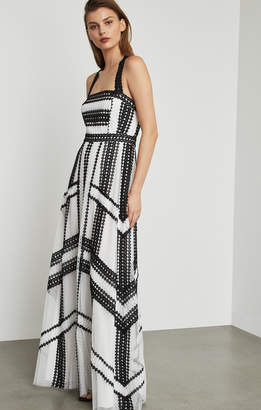 BCBGMAXAZRIA Two-Tone Scalloped Lace Gown