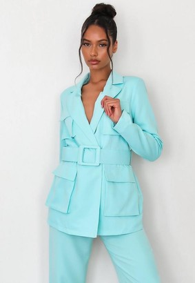 Missguided Turquoise Co Ord Utility Belted Blazer
