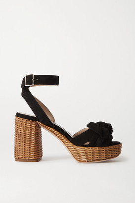 Miu Miu Suede And Raffia Platform Sandals - Black