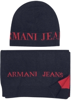 Armani Jeans Signature Knitwear Set of Hat and Long Scarf
