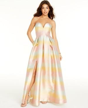 Betsey Johnson Sweetheart-Neck Metallic Gown