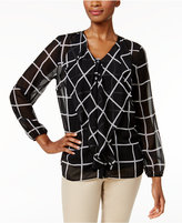 Charter Club Petite Grid-Print Ruffle Blouse, Only at Macy's