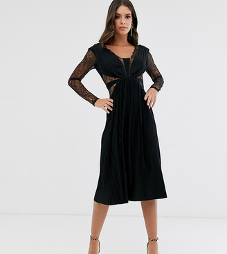 ASOS DESIGN Tall lace and pleat long sleeve midi dress