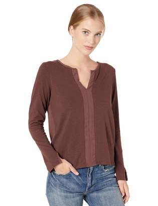 Recreation reCreation Women's Long Sleeve Split Neck Knit Top