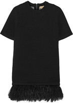 Michael Kors Feather-trimmed Stretch Cashmere-blend Sweater - Black