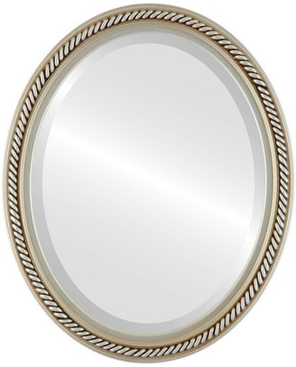 """The Oval And Round Mirror Store Santa Fe Framed Oval Mirror in Silver, 32""""x42"""""""