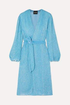 retrofete Audrey Velvet-trimmed Sequined Chiffon Wrap Dress - Blue
