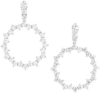 Adriana Orsini Tivoli Rhodium Goldtone Plated Silver Cubic Zirconia Open Circle Earrings
