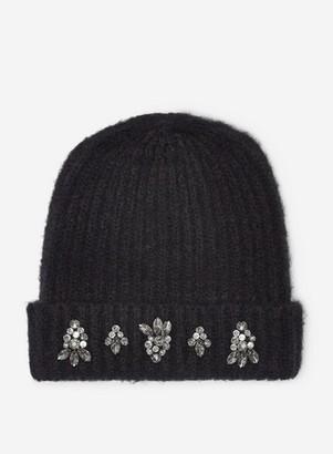 Dorothy Perkins Womens Black Embellished Trim Hat, Black