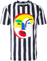 Fendi striped abstract face print T-shirt - men - Cotton - 46