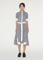 Thom Browne Collarless Gingham Shirtdress
