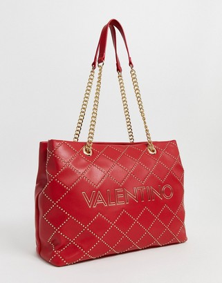 Mario Valentino Valentino By Valentino by Mandolino red studded tote bag