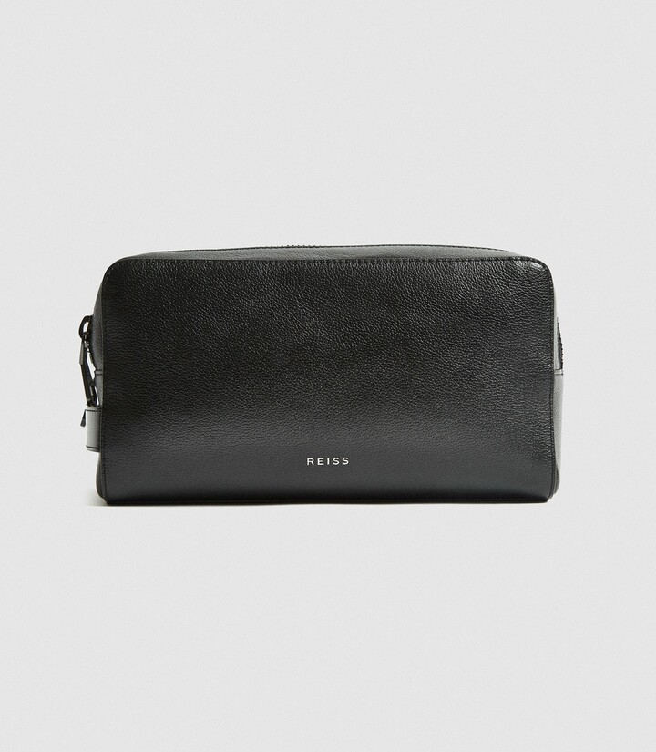 Reiss Ethan - Leather Washbag in Black