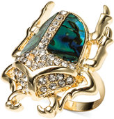 Rachel Roy 12k Gold-Plated Abalone Crystal Large Beetle Ring