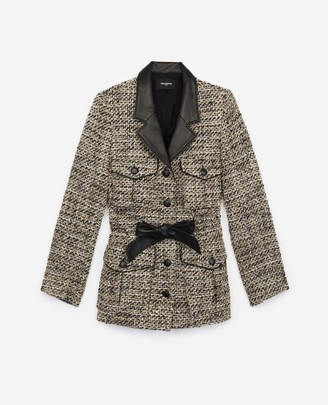 The Kooples Fitted grey tweed jacket with leather details