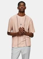 TopmanTopman Pink Pique Boxy Stripe T-Shirt