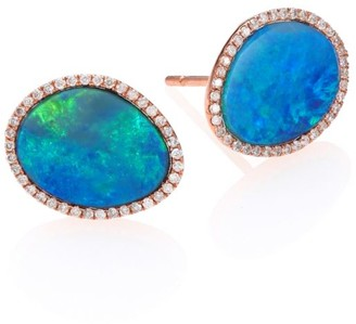 Meira T Opal, Diamond & 14K Rose Gold Stud Earrings