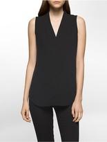 Calvin Klein V-Neck Inverted Pleat Blouse