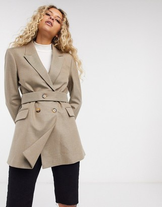 Selected blazer with double breast in beige