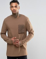 Asos Longline Long Sleeve T-Shirt With Military Pocket