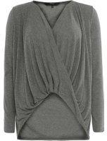 Dorothy Perkins Wo**vero Moda Grey Wrap Jersey Top- Grey