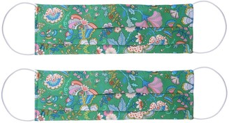 Rumour London Pack Of 2 Silk Face Masks With Integrated Filter In Liberty Fabric In Green Print