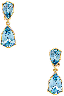 Oscar de la Renta Crystal Drop Earrings in Aquamarine | FWRD