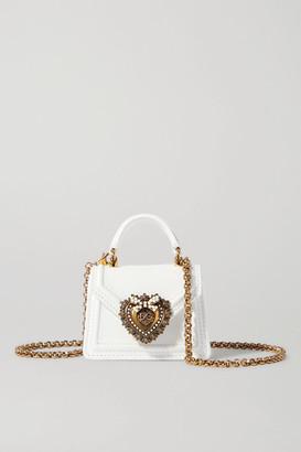 Dolce & Gabbana Devotion Micro Embellished Leather Shoulder Bag - White