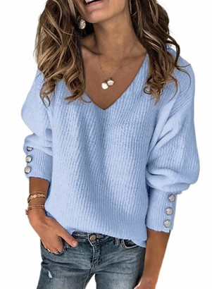 LOSRLY Womens Button Decoration Long Sleeve Pullovers Sweaters V Neck Oversized Knit Jumper Tops Sky Blue