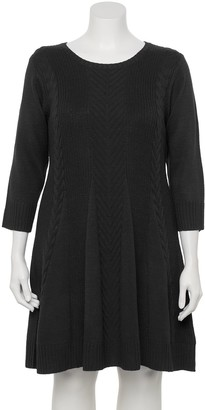 Iz Byer Juniors' Plus Size Fit & Flair Cable Sweater Dress