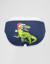 Asos Holidays Briefs With Santa Dinosaur Print