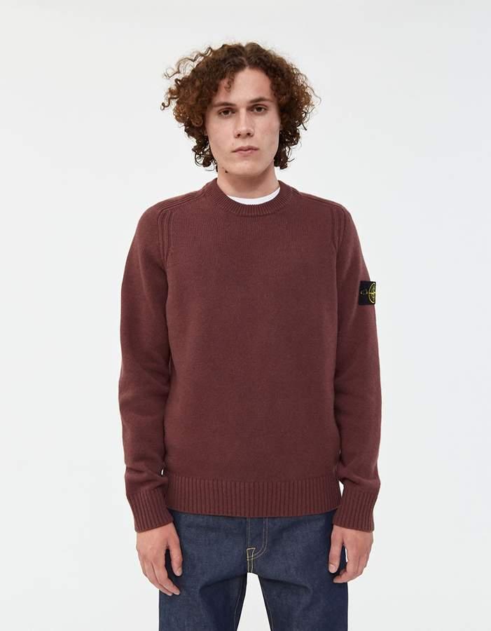 Stone Island Lambswool Knit Sweater in Dark Burgundy