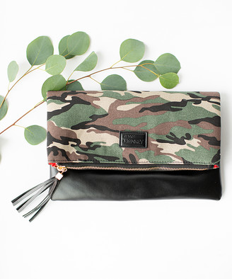 Funky Monkey Women's Clutches Camo - Black & Green Camo Fold-Over Clutch