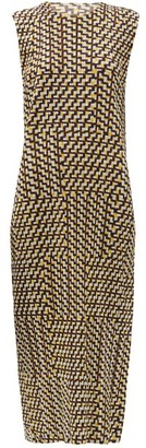 Pleats Please Issey Miyake Bloom-print Technical-pleated Jersey Midi Dress - Yellow Multi