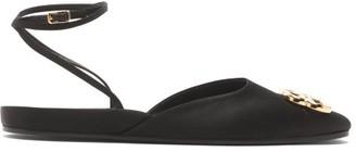 Balenciaga Bb Logo-plaque Ankle Strap Satin Ballet Flats - Black Gold