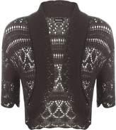 WearAll Women's Crochet Knitted Short Sleeve Bolero - US 10-12 (UK 14-16)