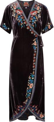 Johnny Was Isadora Floral Embroidered Velvet Wrap Dress