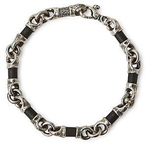 John Varvatos Collection Sterling Silver Artisan Metals Obsidian Link Bracelet