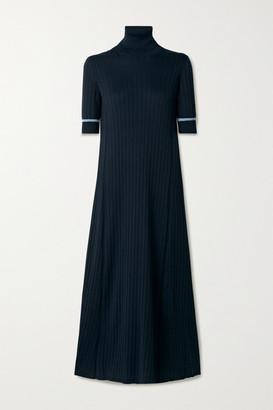 Loro Piana Ribbed Silk And Cotton-blend Turtleneck Midi Dress - Midnight blue