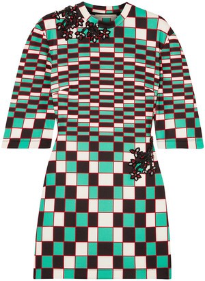 Christopher Kane Embellished Checked Stretch-scuba Mini Dress