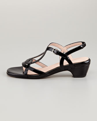 Taryn Rose Odele Low-Heel Patent Sandal, Black