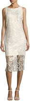 Alexia Admor Gold-Shimmer Lace Midi Dress, White