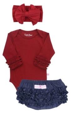 RuffleButts Baby Girls Bodysuit, Bow Headband and Bloomer Set