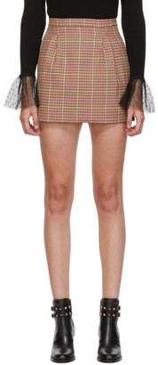 RED Valentino Brown and Pink Houndstooth Skirt