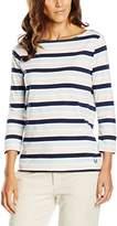 Crew Clothing Women's Essential Breton Top, Multicoloured (White Linen/Navy Stripe)