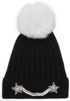 Jocelyn Ribbed Fox Fur Pom-Pom Beanie