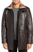 Andrew Marc Men's Middlebury Genuine Rabbit Fur Trim Leather Car Coat With Removable Bib