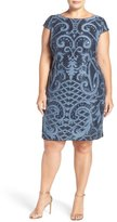 Adrianna Papell Cap Sleeve Sequin Lace Sheath Dress (Plus Size)
